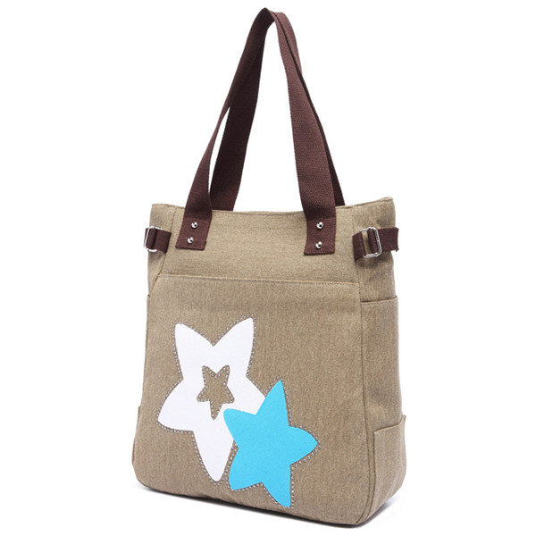 Women Canvas Star Tote Handbags Casual Shoulder Bags Capacity Shopping Bags