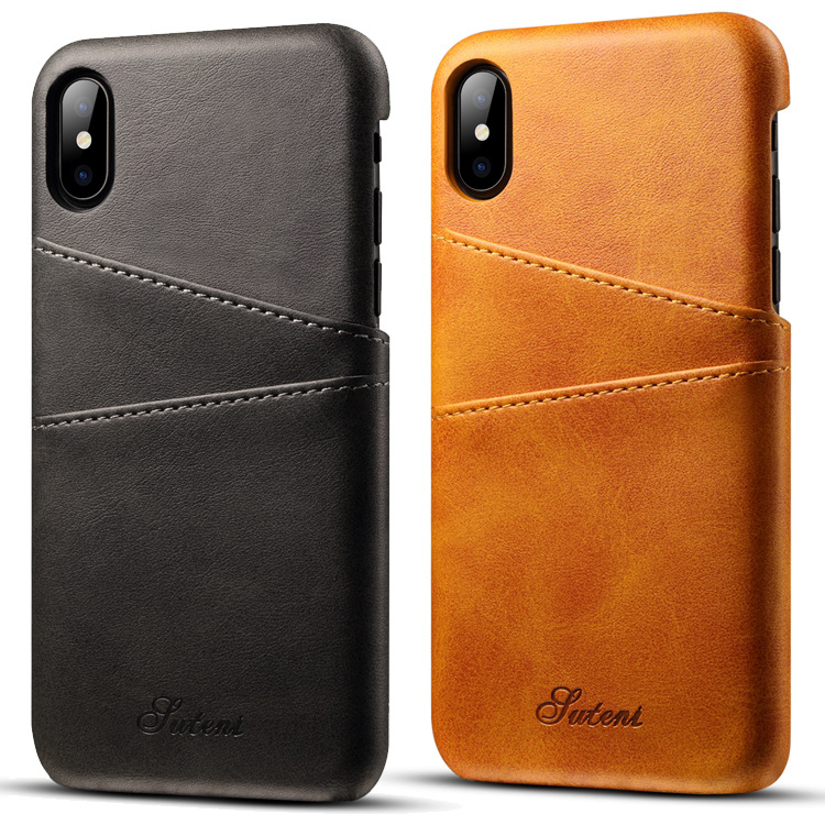 Premium Cowhide Leather Card Slot Protective Case For iPhone XS