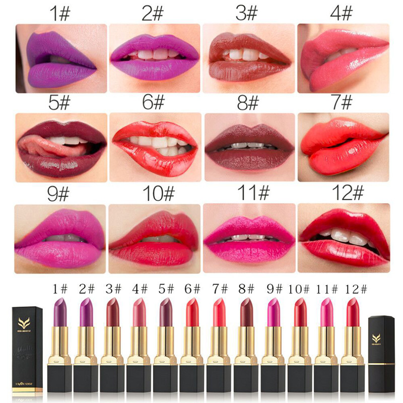 Matte Lipsticks Waterproof Moisturizing Lip Stick Vampire Grape Purple Lip Gloss 12 Colors