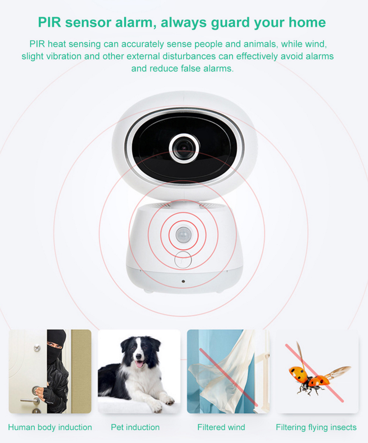 Bqcker BK-EQ1 360°PTZ Wireless IP Camera PIR Sensor Alarm M-otion Detection Baby Monitor Two Way Audio Monitor Night Vision CCTV WiFi Mornitor Cloud Baby Monitors