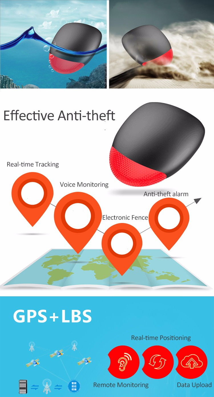 Mini Anti Theft Bicycle Alarm Tracker GPS Dual Mode Intelligent Phone APP Control Electric Fence Smart Alarm Waterproof Dust-proof Bicycle Alarm Real Time Location History Record