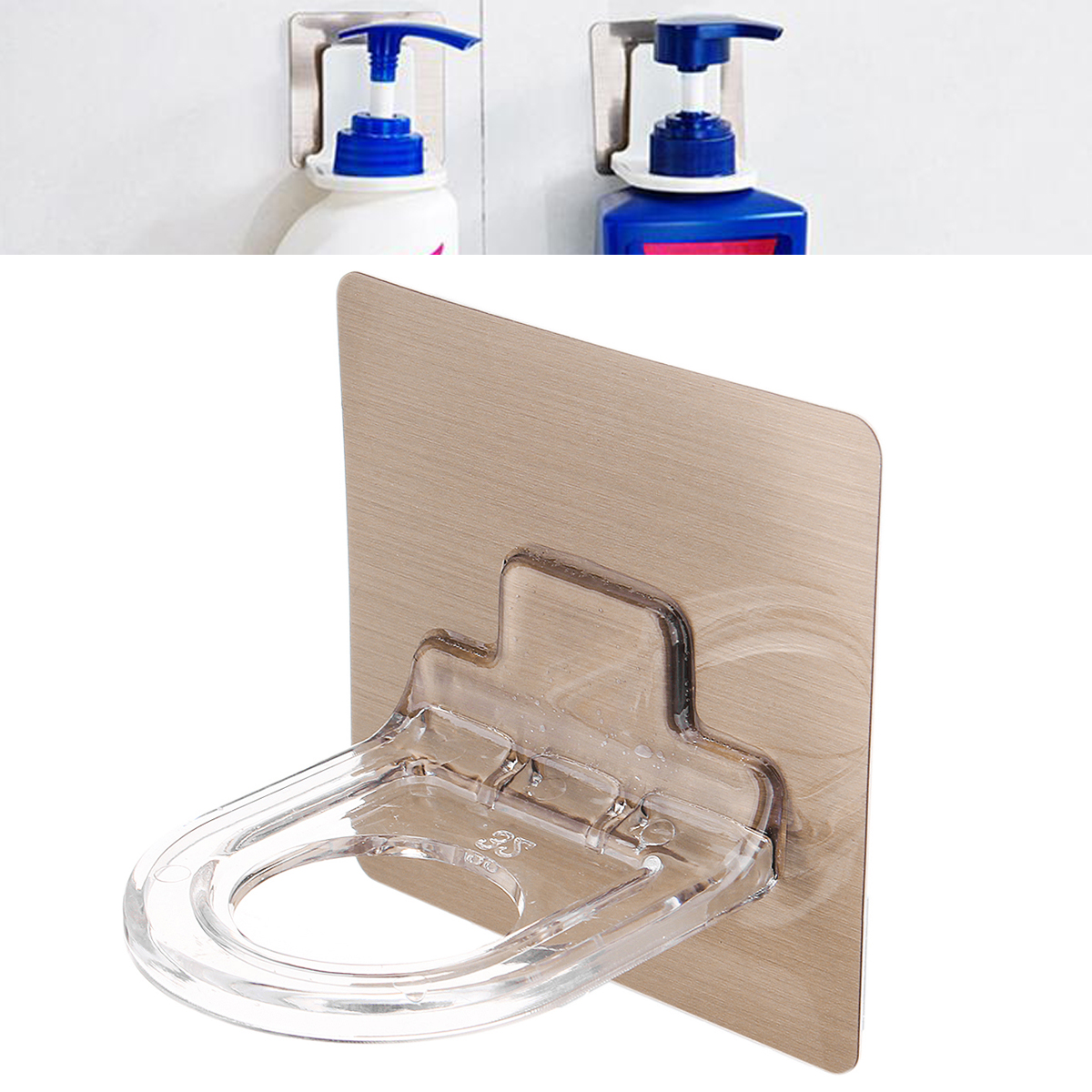 Wall Mounted Magic Sticky Shampoo Hook Shower Hand Soap Bottle Storage Hanging Holder