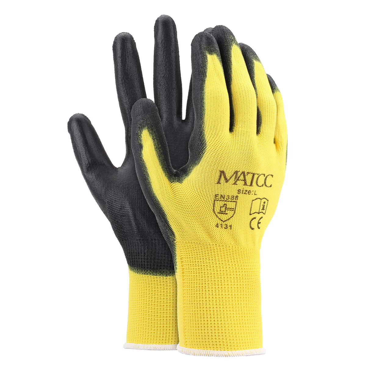 12 Pairs PU Nitrile Coated Safety Work Gloves Garden Construction Grip Anti-Slip Size M/L/XL