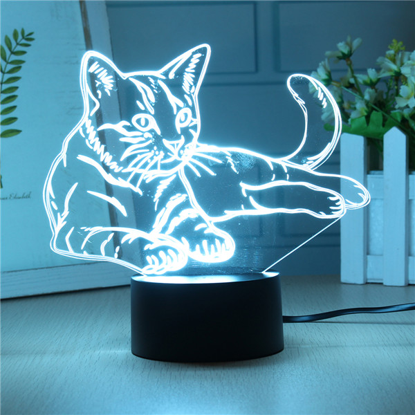 3D USB/Battery Powered Cute Cat 7 Colors Change LED Desk Lamps Touch Switch Night Light