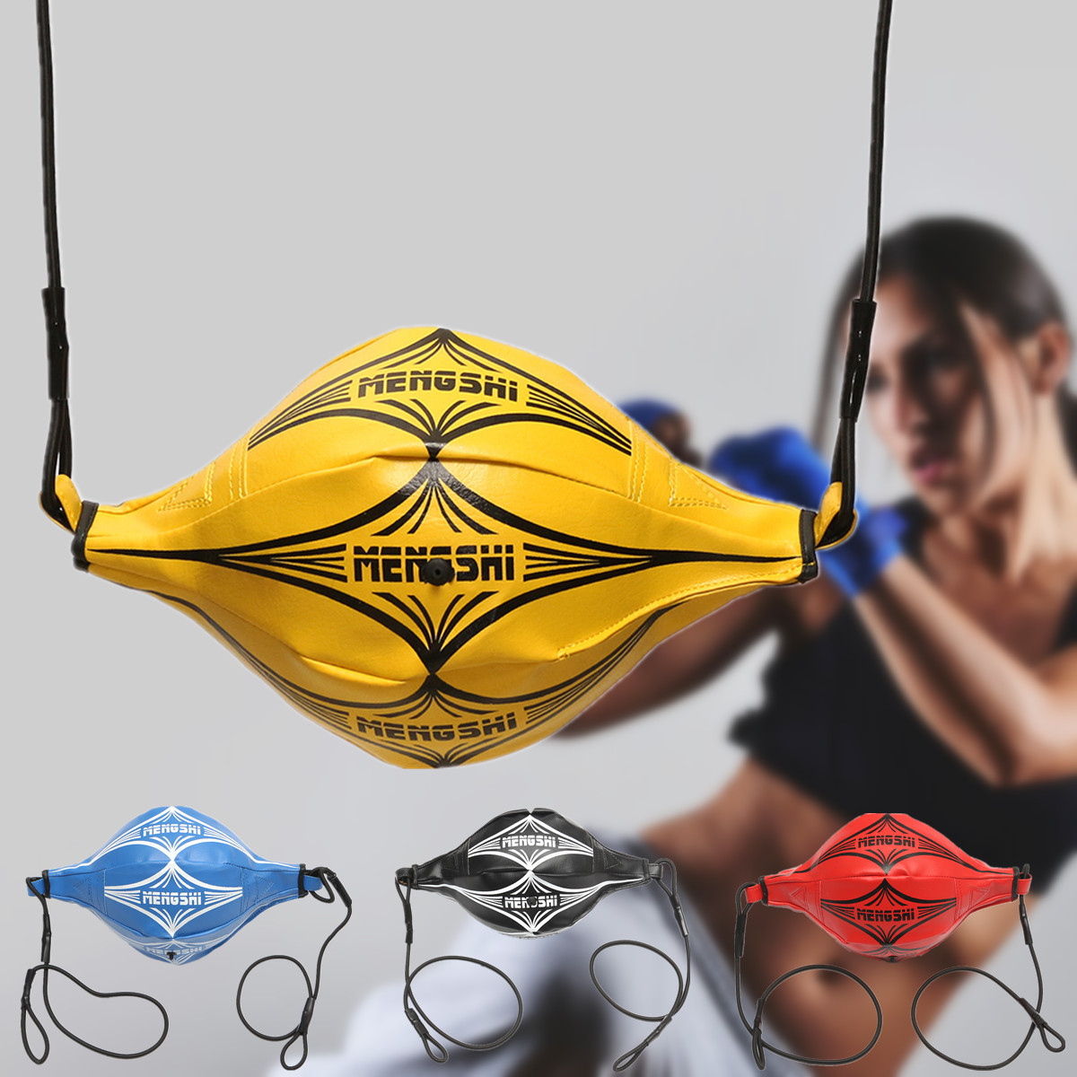 PU Leather Double End Punch Bag Boxing Sparring Speed Ball Training Gym Fitness