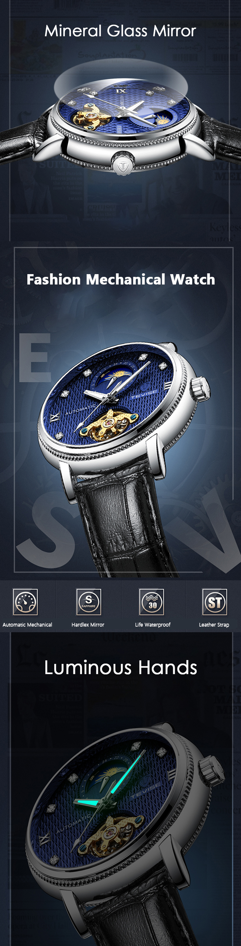 TEVISE T612 Luminous Business Automatic Mechanical Watch