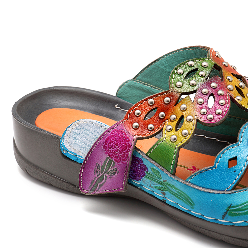 SOCOFY Genuine Leather Colorful Rivet Sandals