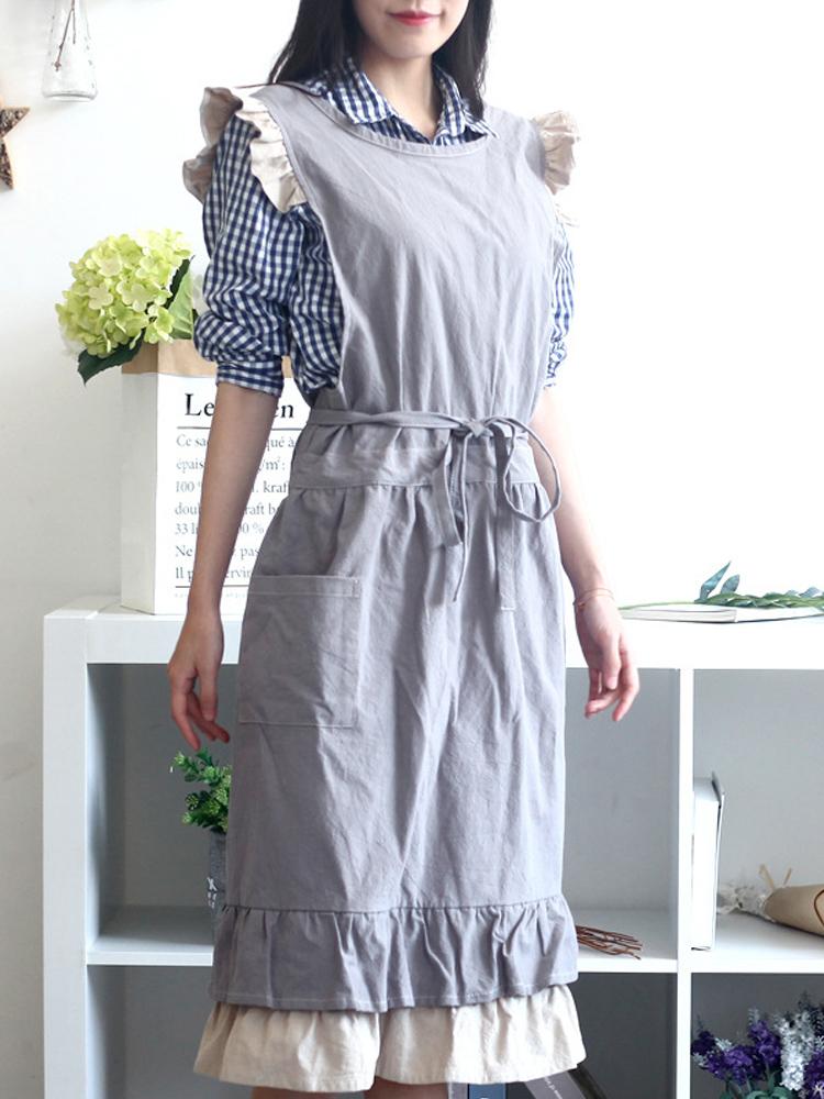 Japanese Sleeveless Ruffle Solid Color Vintage Apron Dress