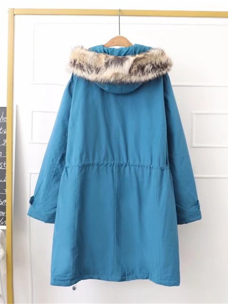 M-5XL Women Pure Color Fur Hooded Winter Wool Coat