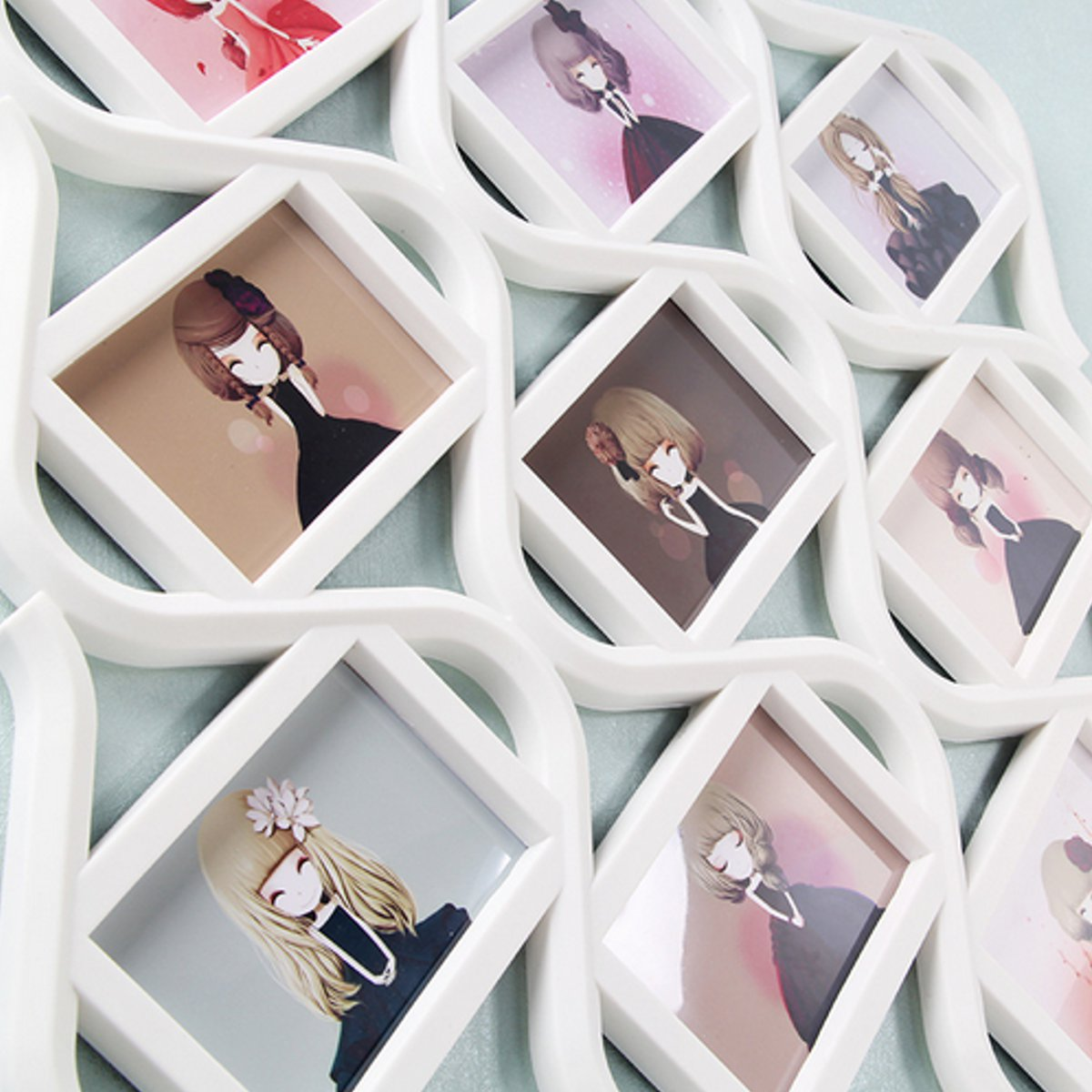 Chinese Knot 9 Image Family Photo Frame Collage Picture Wall Hanging Decor Wedding Gift