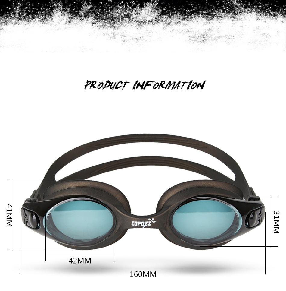 COPOZZ 200-800 Myopia Swim Goggles Anti Fog Uv Protection Optical Waterproof Eyewear for Men Women