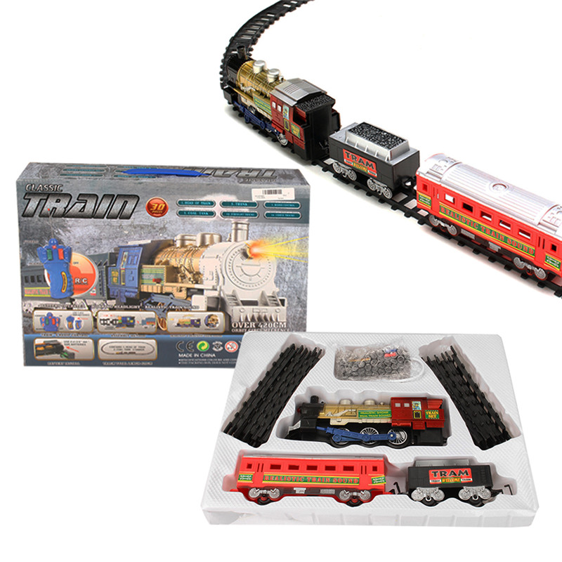 Remote Control RC Electric Train Rail Set With Light Music For Kids Children Christmas Gift Toys
