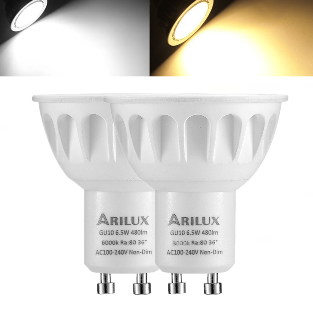 1X 5X 10X ARILUX® GU10 6.5W 2835 SMD 480LM Non-Dimmable LED Spotlight Indoor Lamp Bulb AC100-240V