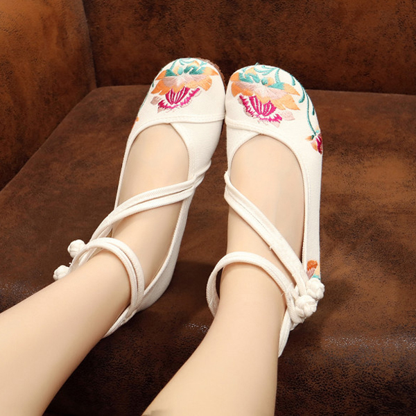 Mary Janes Flower Embroidered Shoes Lace Up Linen Loafers