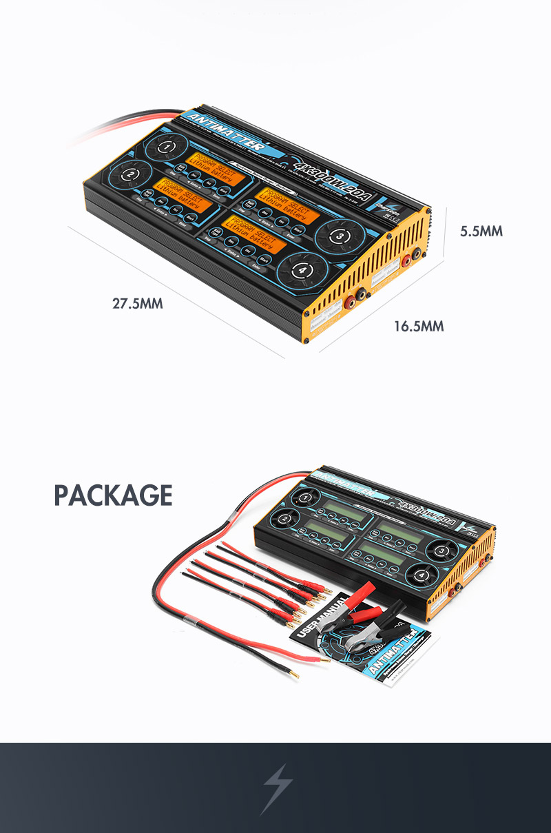 Charsoon Antimatter DC 4X300W 20A Synchronous Balance Charger Discharger For LiPo/LiFe/NiCd/PB Battery