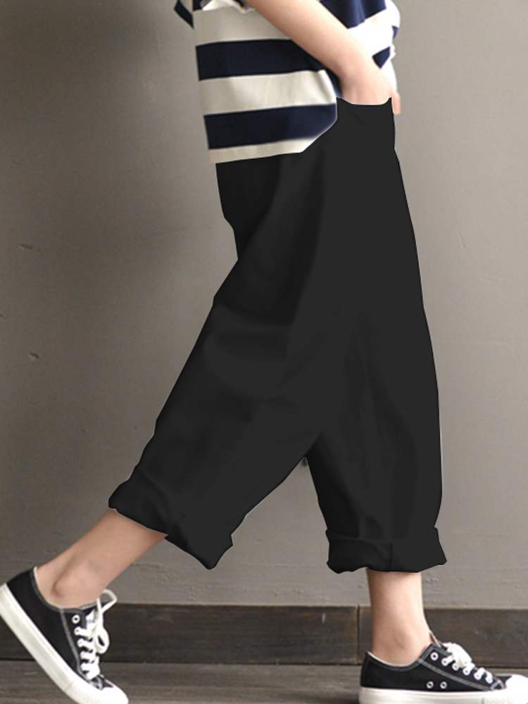 Women Elastic High Waist Cotton Loose Solid Trousers
