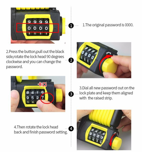 Coded Password Lock Folding Anti Theft 4 Digital Combination Bicycle Chain Black Yellow
