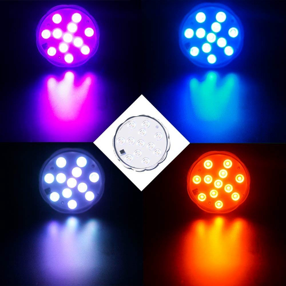 LUSTREON 1W 12 LED Remote RGB Submersible Night Light Waterproof Timer for Aquarium Pool Vase Decor