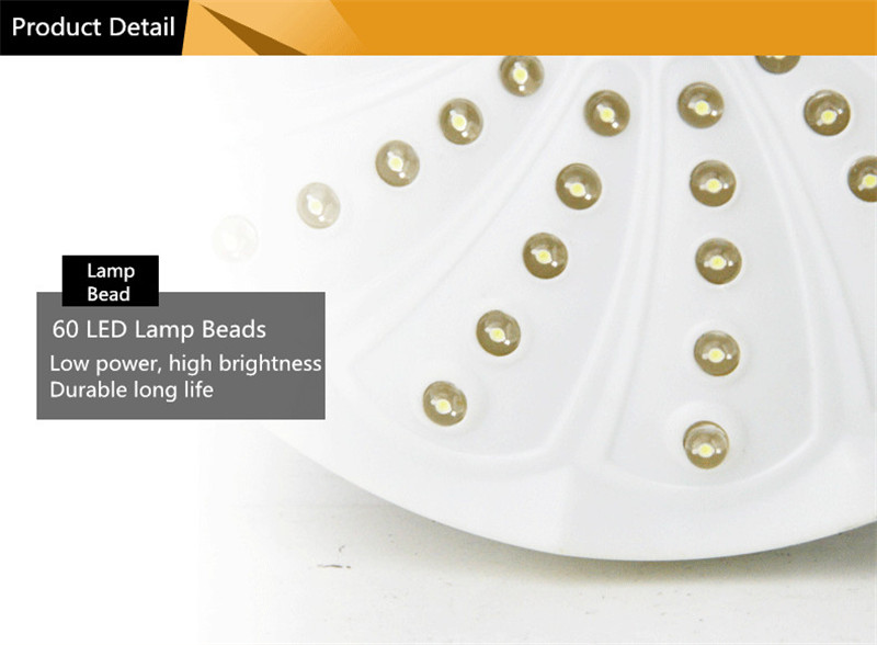 60 LED Camping Light Tent Lamp Outdoor Emergency Umbrella Light Battery Operated With 3 Modes