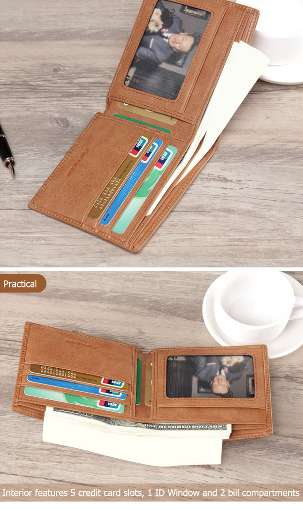 Men Vintage Leather Thin Wallet Card Holder