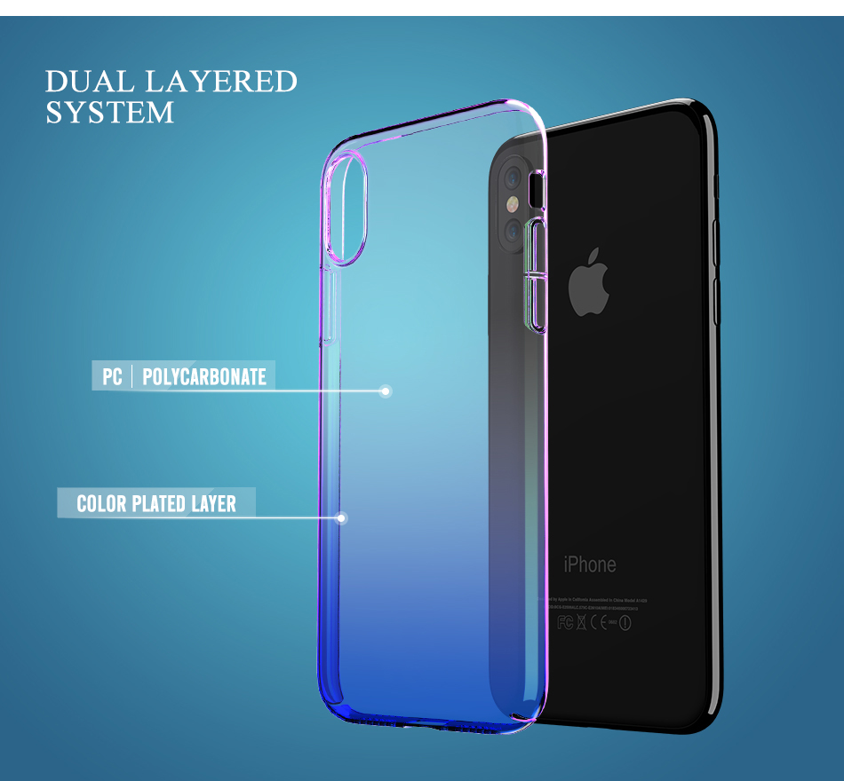 Bakeey Clear Gradient Color Hard PC Case For iPhone X