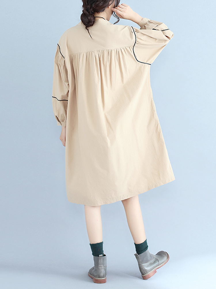 Women Fashion Long Sleeves Loose Dress