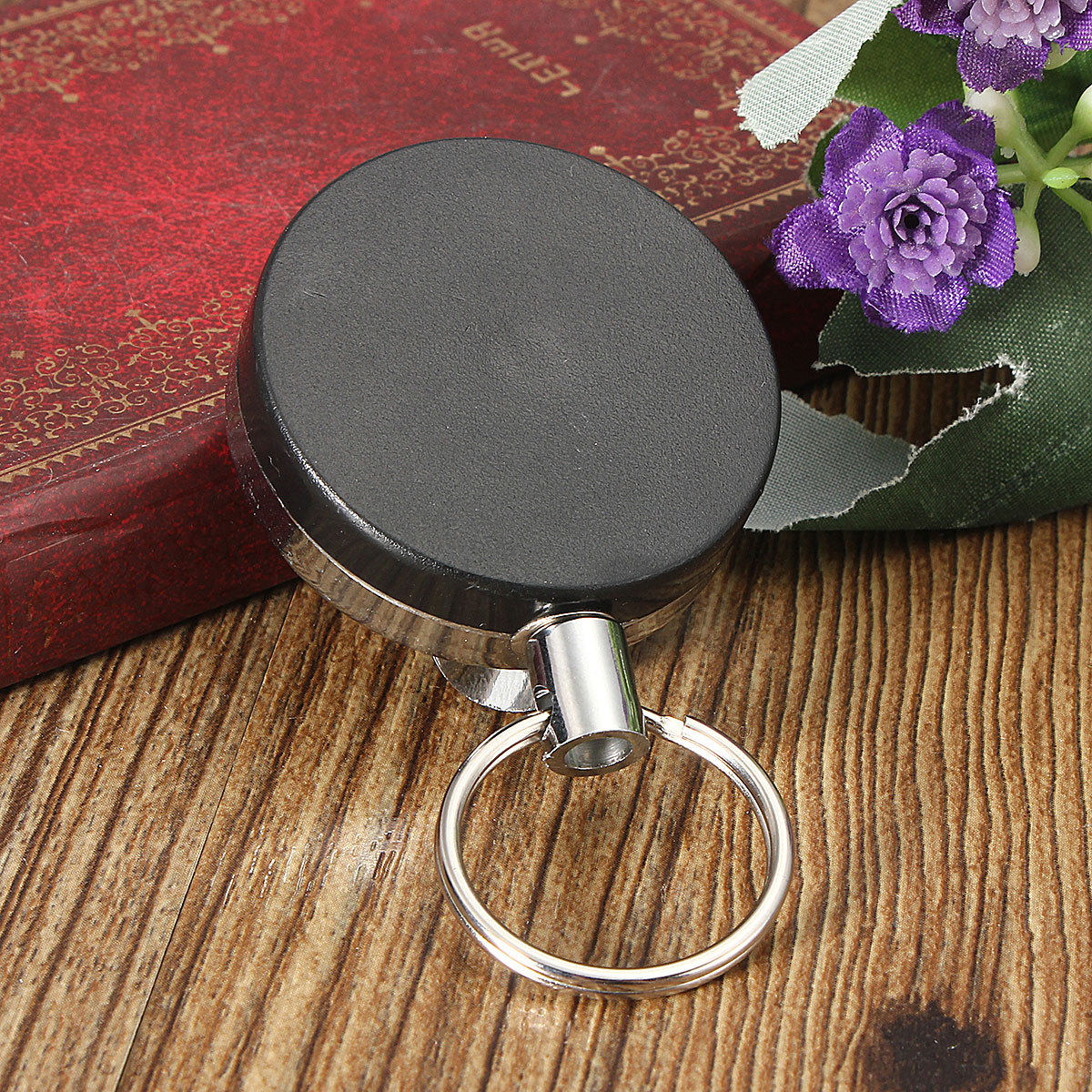 40x40mm Round Metal Telescopic Keychain Belt Clip Keyring EDC Tool