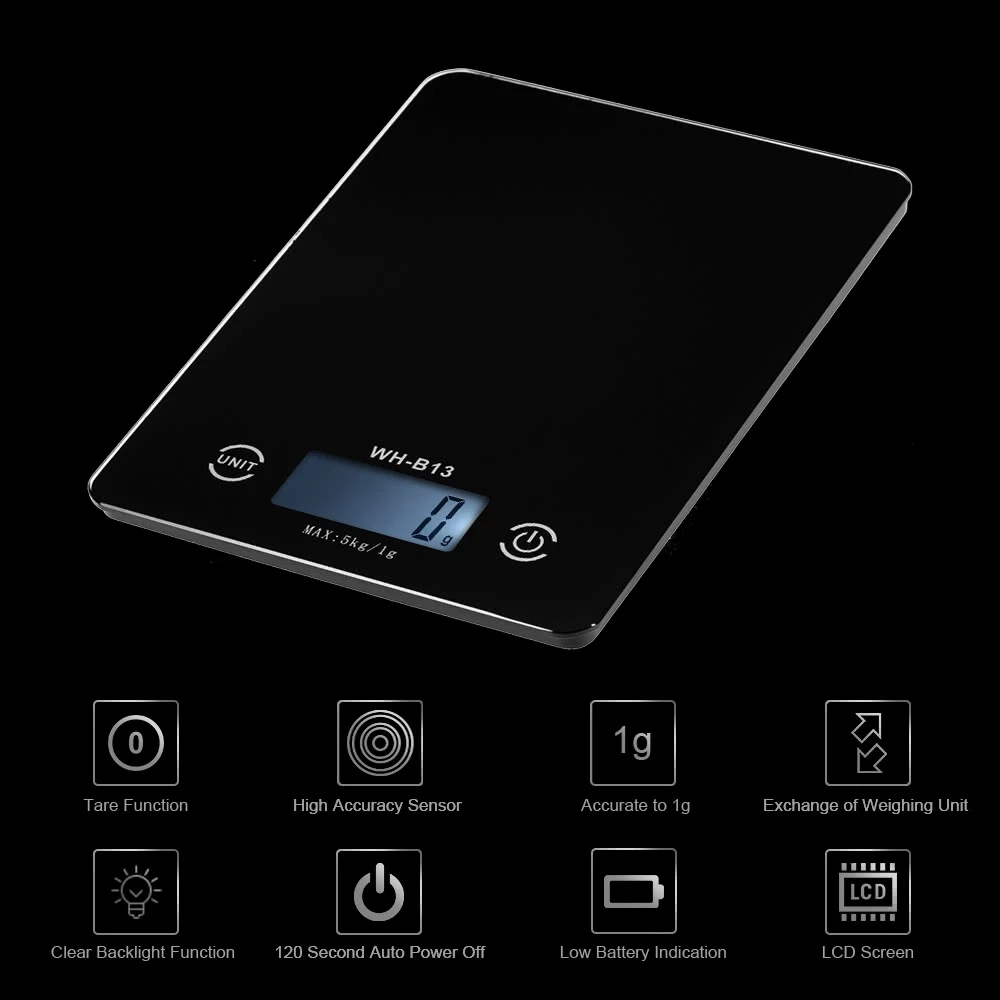 3Life H17906B 5KG/1G Accurate Touch Screen Kitchen Scale LCD Backlight Digital Kitchen Food Scale G/LB/OZ for Baking Cooking Tare Function From XIAOMI Youpin