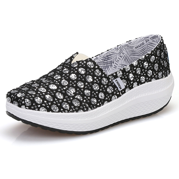 Women Canvas Crystal Outdoor Sport Flat Casual Shoes