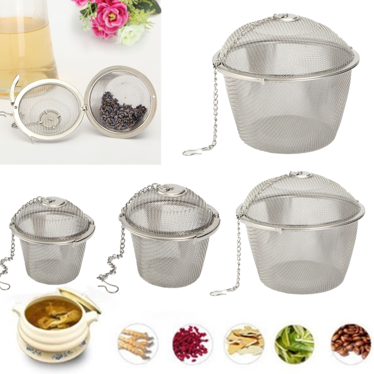 4.5/8.5/11cm Stainless Steel Reusable Mesh Herbal Ball Tea Spice Strainer Teakettle Filter