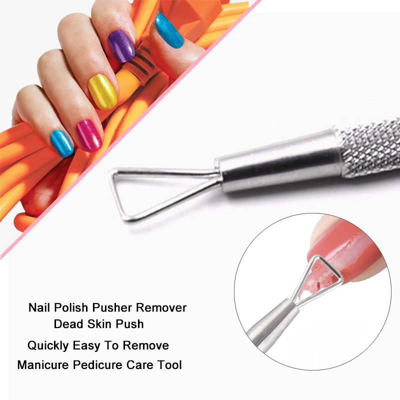 Stainless Steel Nail Polish Pusher Remover UV GEL Cleaner Cut Dead Skin Push Manicure Pedicure Care Tool