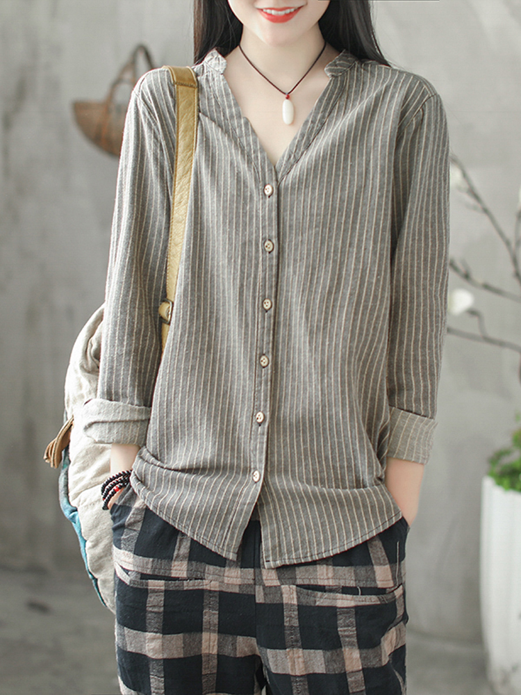 Women Vintage Buttons Striped Long Sleeve Blouse