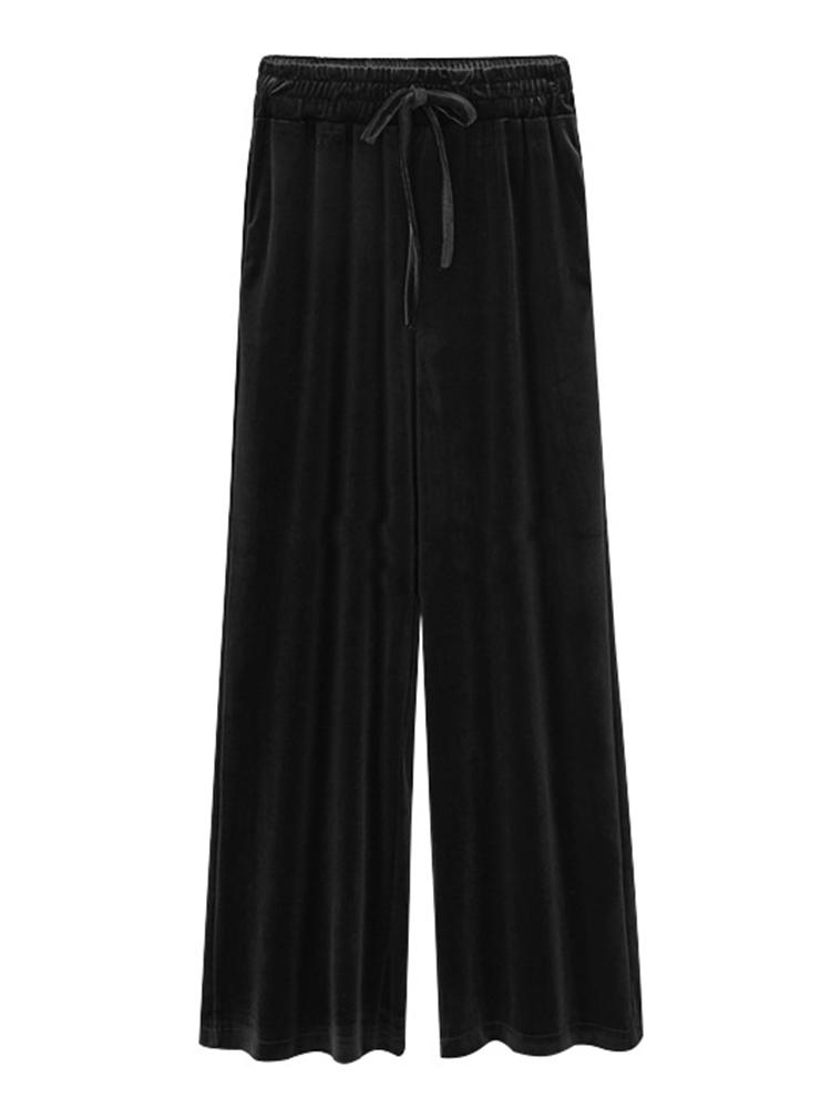 S-5XL Women Velvet Wide Leg Pants