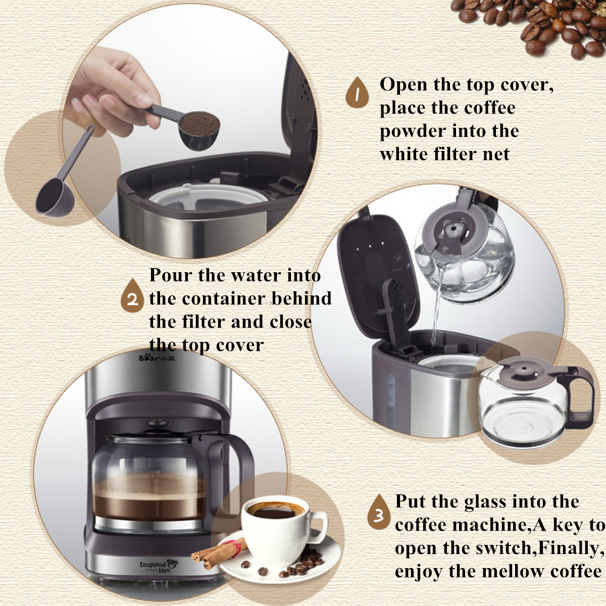 Bear KFJ-A07V1 Coffee Machine Stainless Steel Cappuccino Latte Coffee Maker Home Kitchen Machine