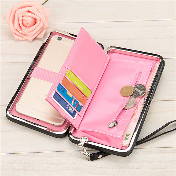 Bowknot Hasp Clutches Bags Portable Hasp Card Holder Long Wallet 5.5'' Phone Purse For Iphone 7Plus
