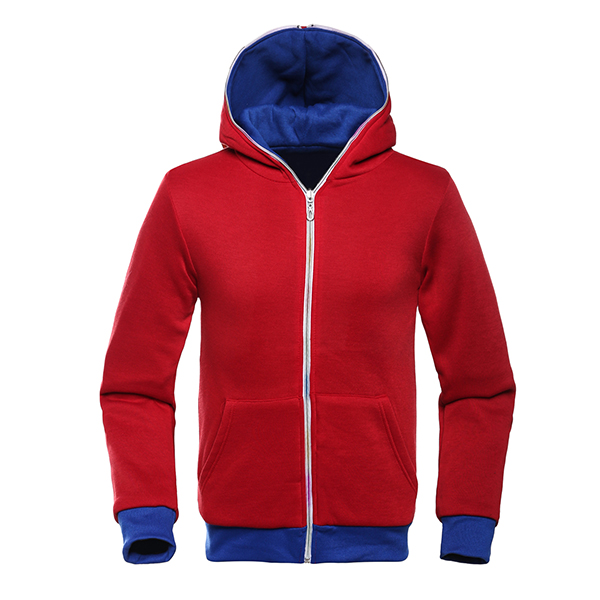 Mens Double Sided Wear Zippered Solid Color Casual Sport Hooded Sweatshirts
