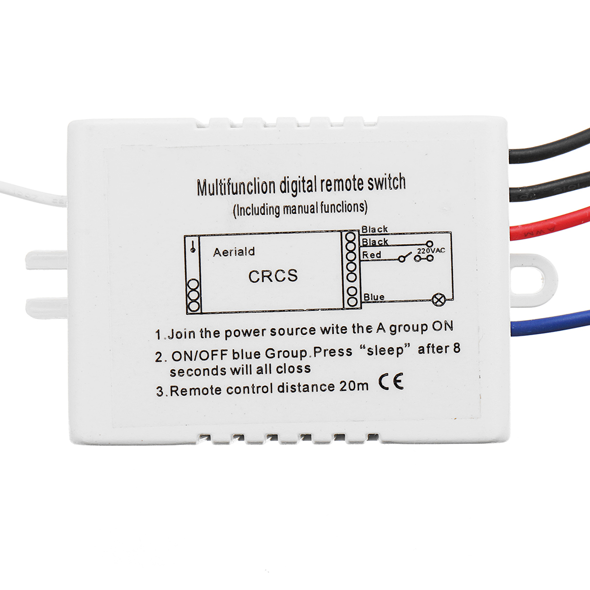 AC 110V/220V 1 Way ON/OFF Lamp Light Digital Switch Dual Button Wireless Remote Control Switch