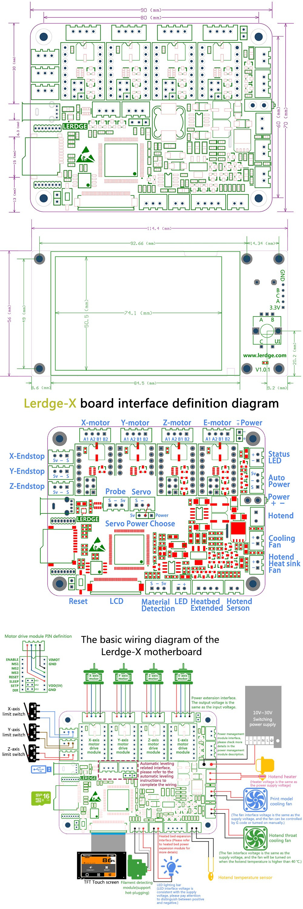 Lerdge® X Integrated Controller Board Mainboard With 32-bit Coretx-M4 Core Control Unit + 3.5inch LCD Touch Screen For Reprap 3D Printer