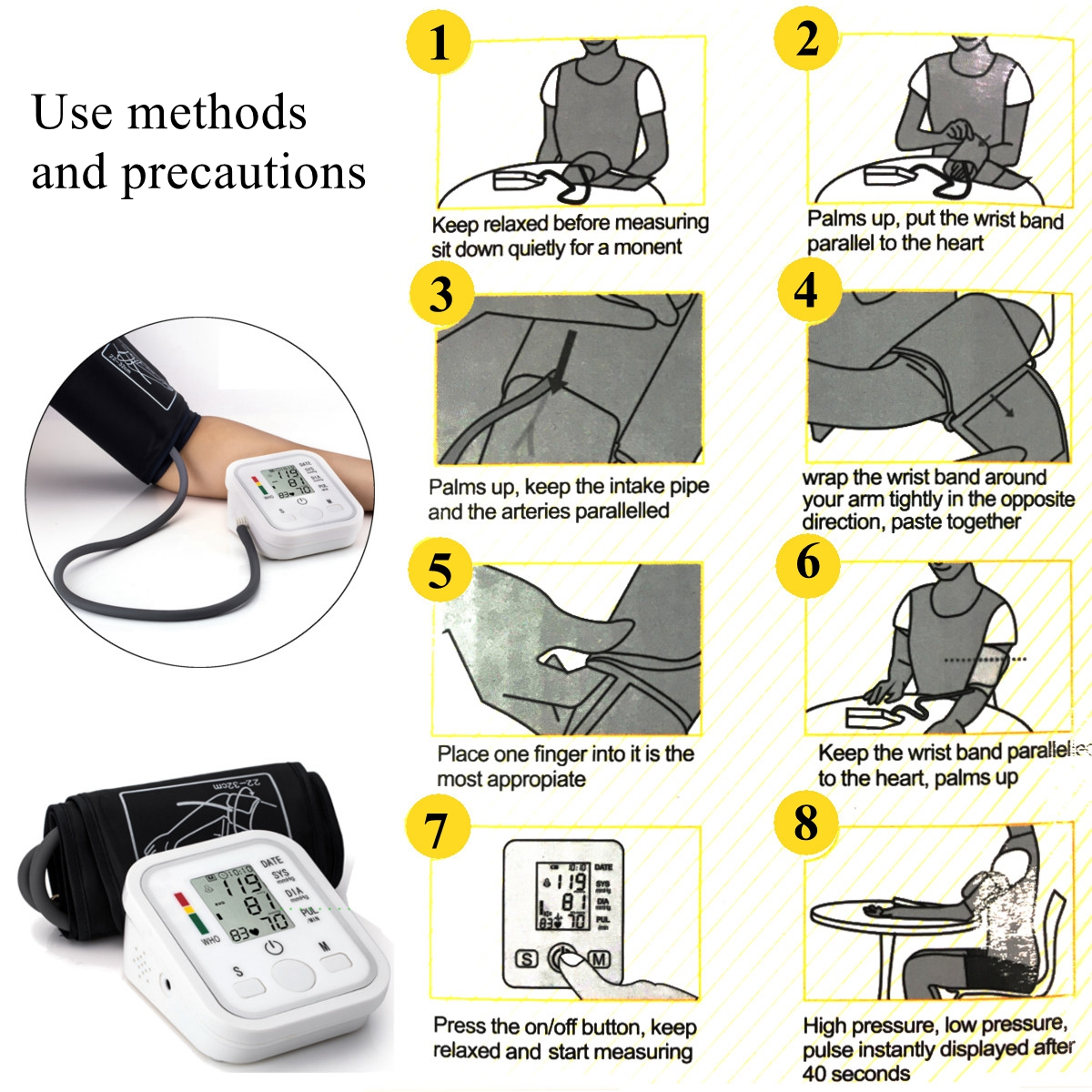 Automatic Digital LCD Blood Pressure Heartbeat Pulse Monitor Upper Arm Cuff