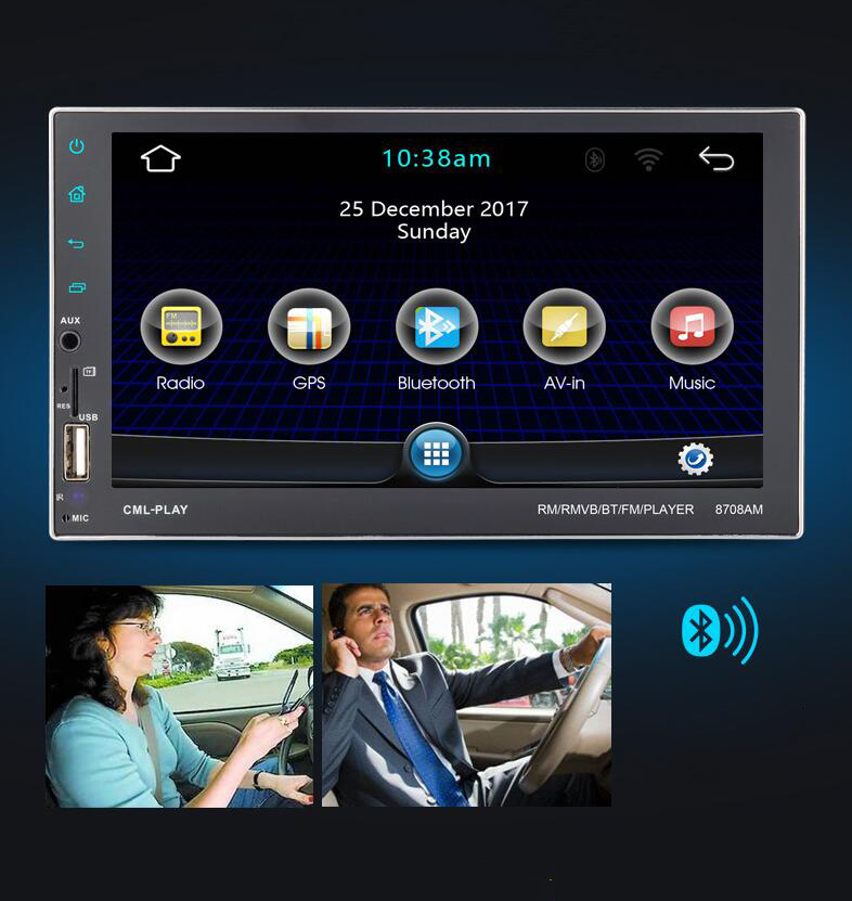 7 Inch Car Dual Spindle HD Touch MP5 bluetooth Handsfree GPS DVD Navigation Player