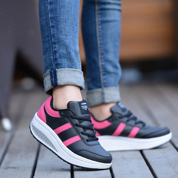 Women Casual Platform Shoes Lace Up Soft Bottom Shake Shoes Casual Shoes