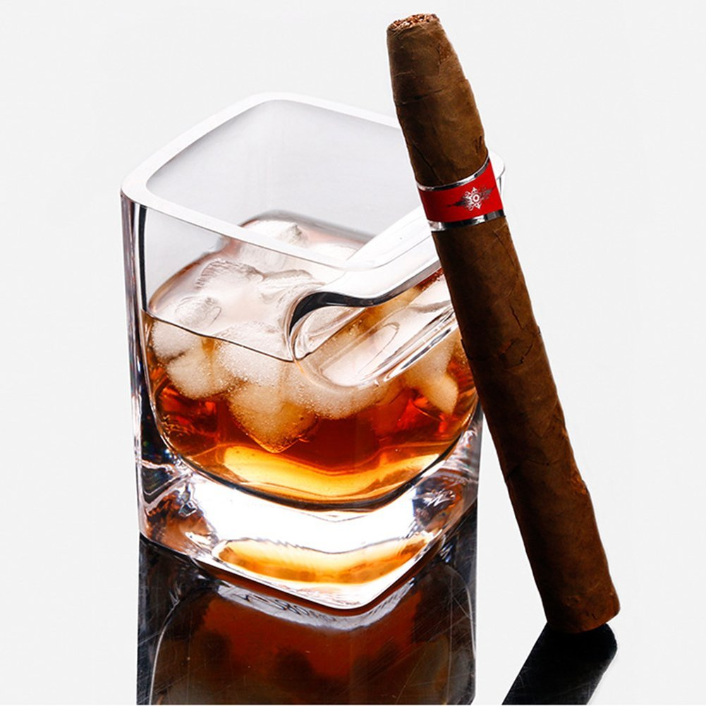 Transparent Beer Wine Whiskey Glass Cup Bottle With Cigar Groove Rack Holder Ashtray Multi-Functional Coffee Tea Glass Mug