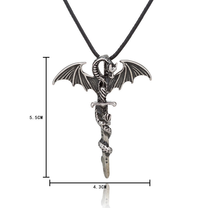 Halloween Vintage Luminous Pendant Necklace Sword Dragon Punk Men Jewelry