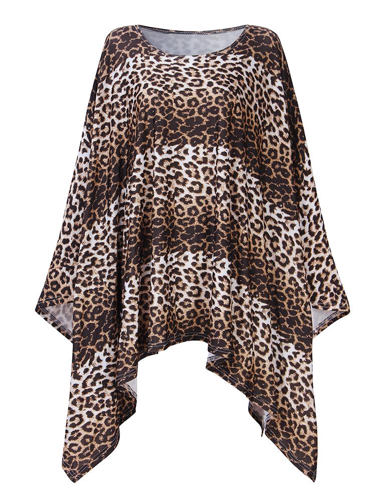 Loose Women Leopard Print Irregular Off Shoulder Batting Sleeve Dress