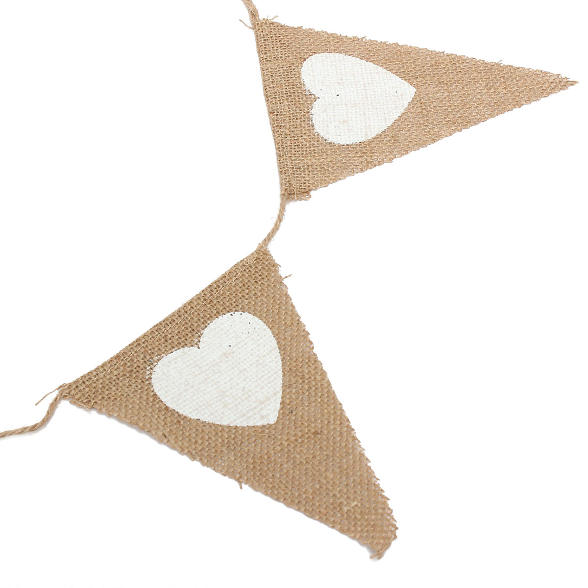 2.8M Heart Triangle Pattern Hessian Burlap Fabric Rustic Wedding Banner Bunting Decoration