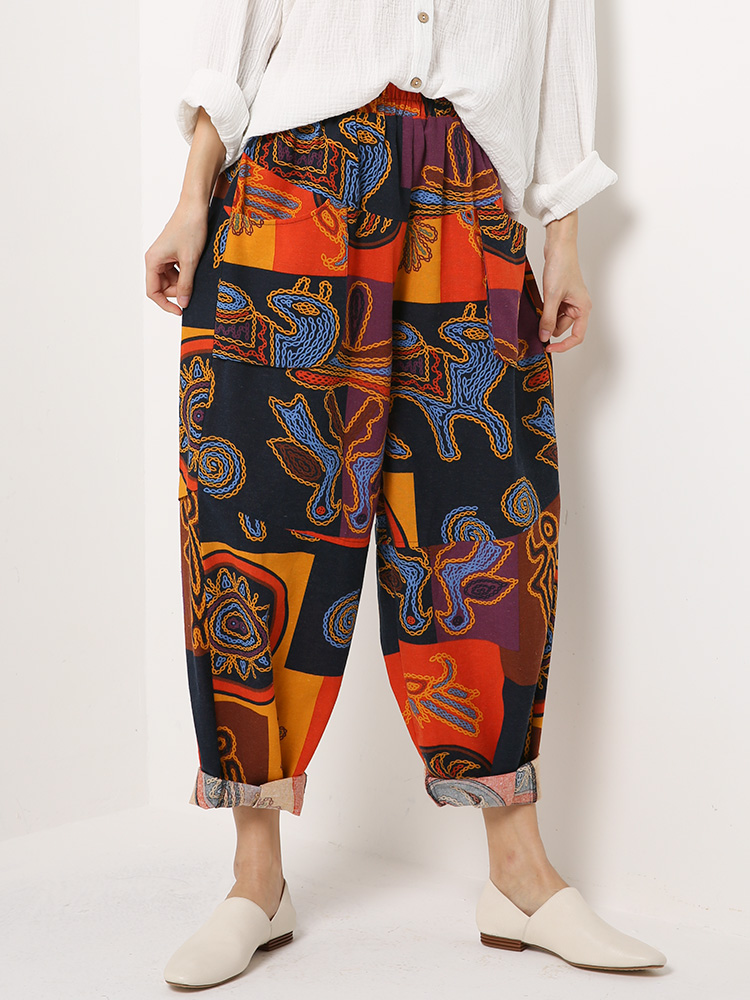 Ethnic Women Floral Print Elastic Waist Pockets Pants
