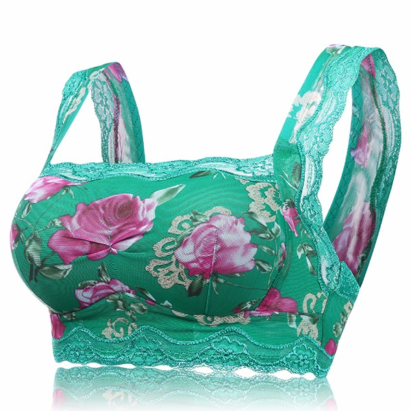 Comfy Wireless Yoga Vest Bra Sexy Lace Rose Printing Breathable Sleeping Brassiere For Women