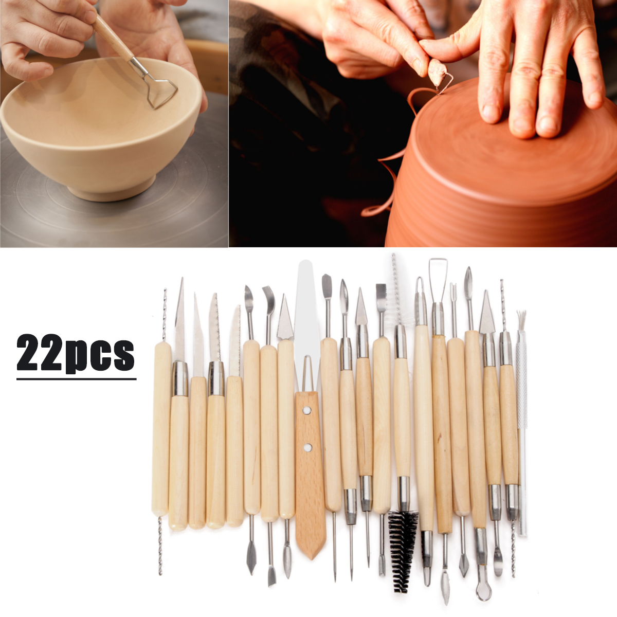22pcs Clay Ceramics Carving Set Candle Pottery Tool Sculpting Making Modelling