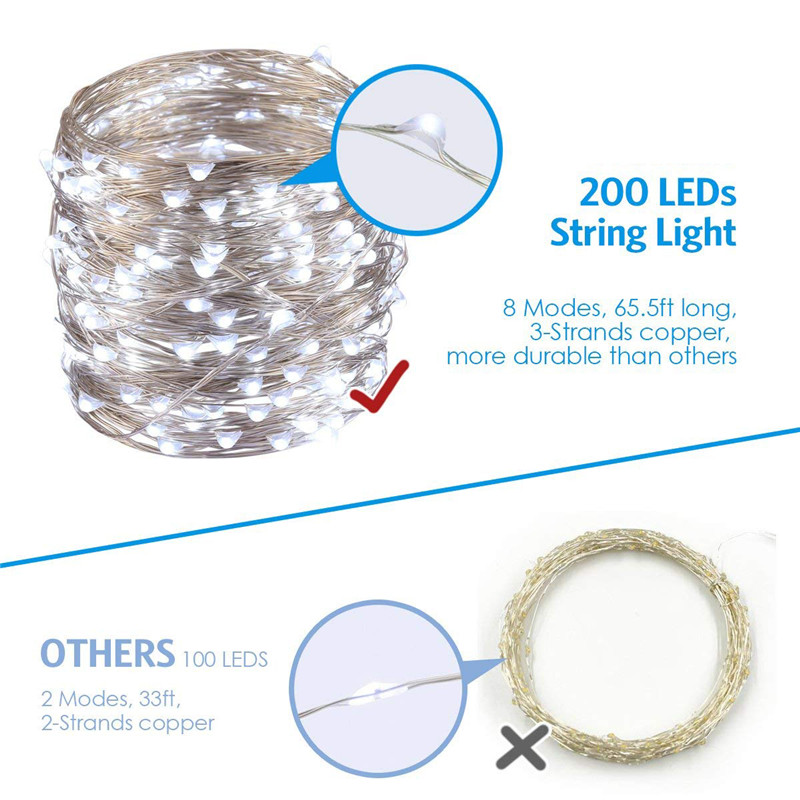 ARILUX Battery Powered 8 Modes IP65 200LED Tree Vine String Fairy Light with 13Key IR Remote Control