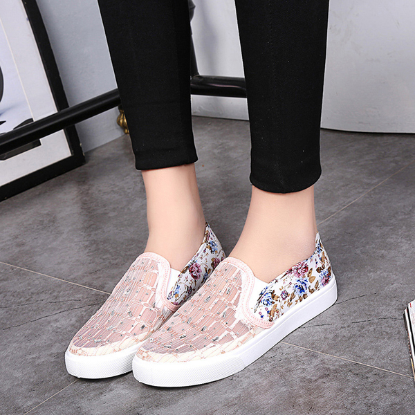 Lace Breathable Hollow Out Floral Print Slip On Flat Shoes